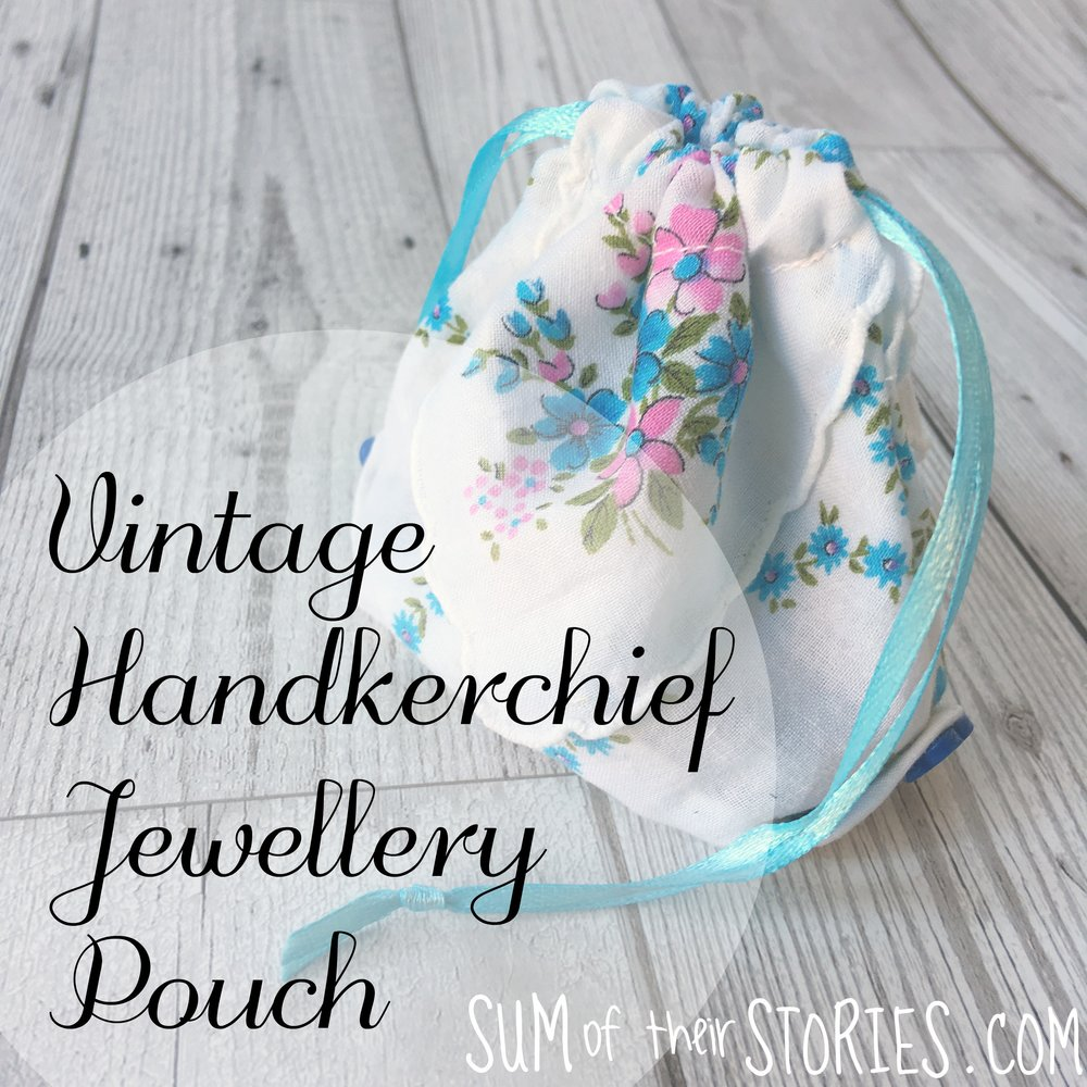 vintage handkerchief travel jewellery pouch