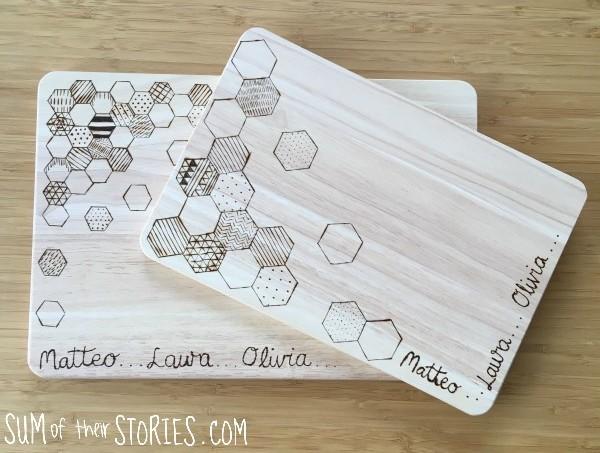 wood burning geometric design chopping board