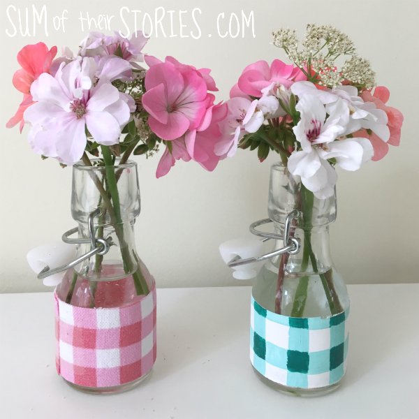 Gingham mini vases