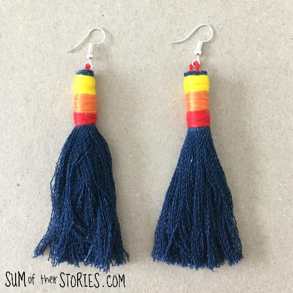 Make your own denim tassel earrings
