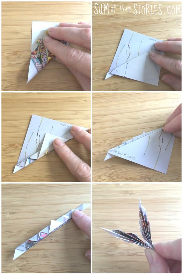 Folding paper butterfly wings