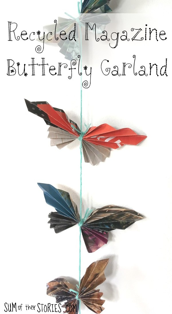 recycled magazine butterfly garland