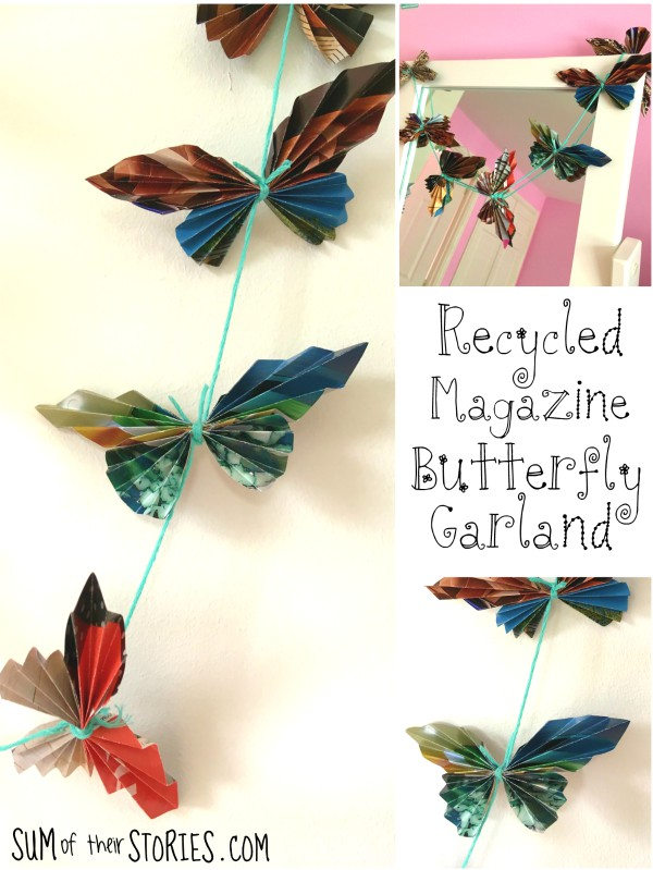 upcycled magazine butterfly garland