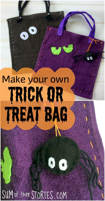 Kids sewing Trick or Treat bag