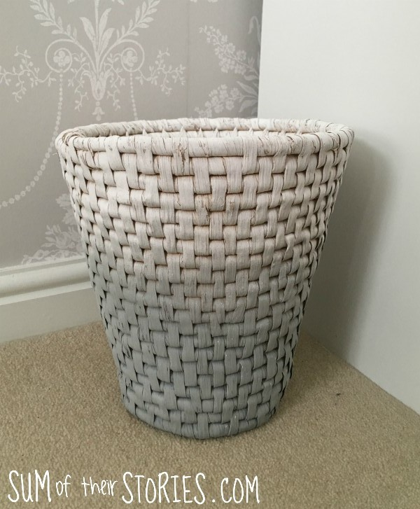 Ombre paint effect waste basket
