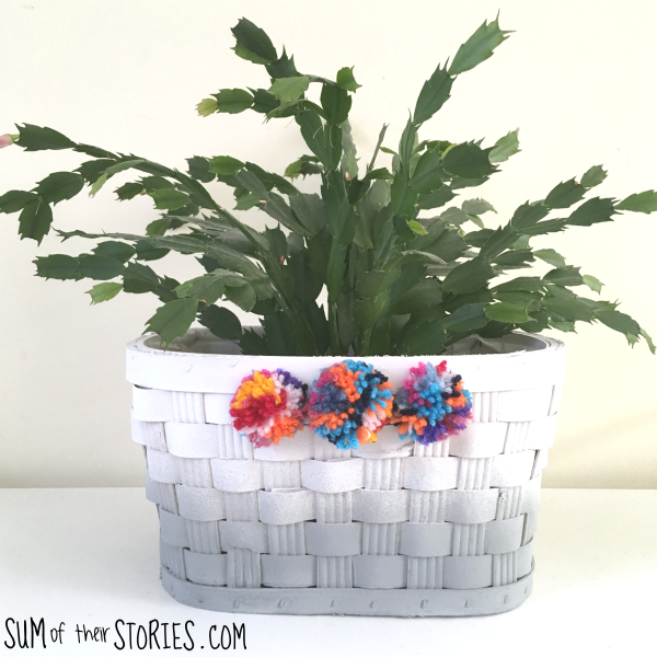 Ombre basket with pom poms