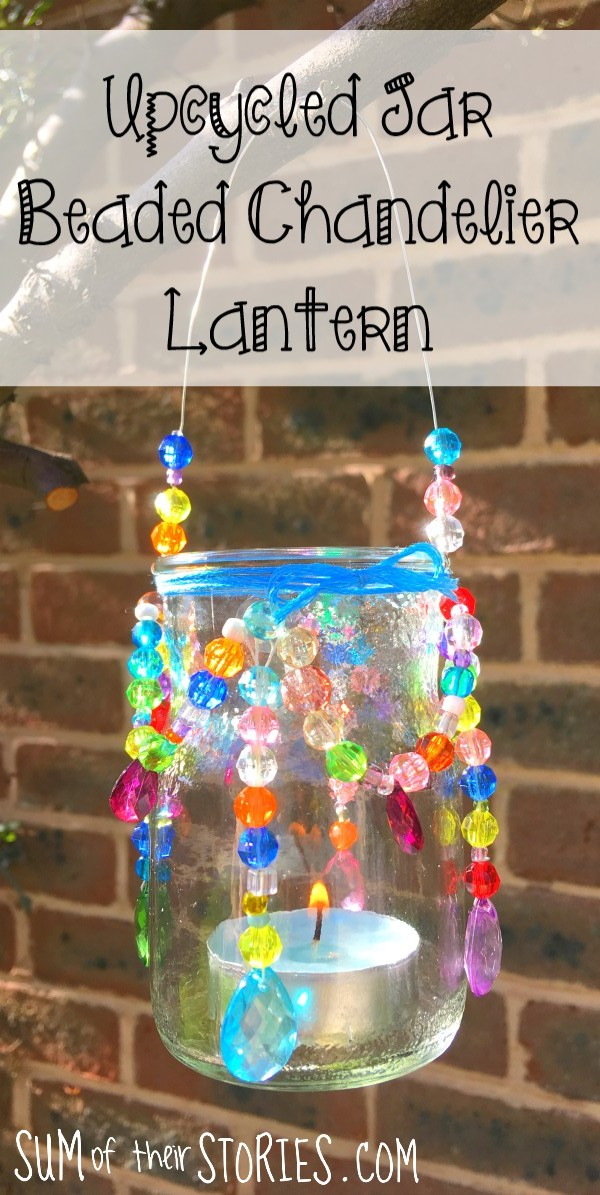 upcycled jar beaded chandelier lantern