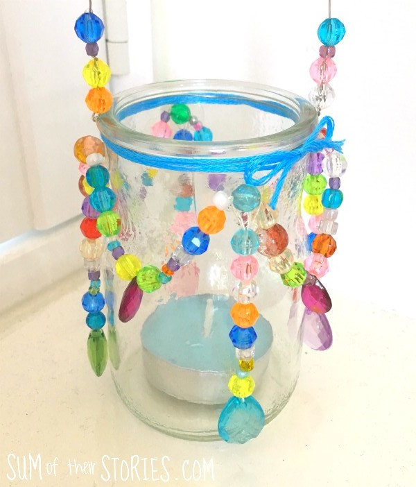 beaded upcycled tealight holder
