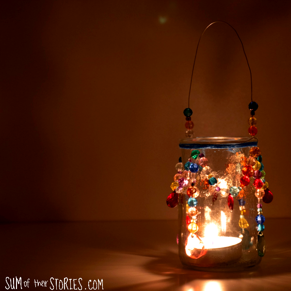beaded tea light chandelier boho