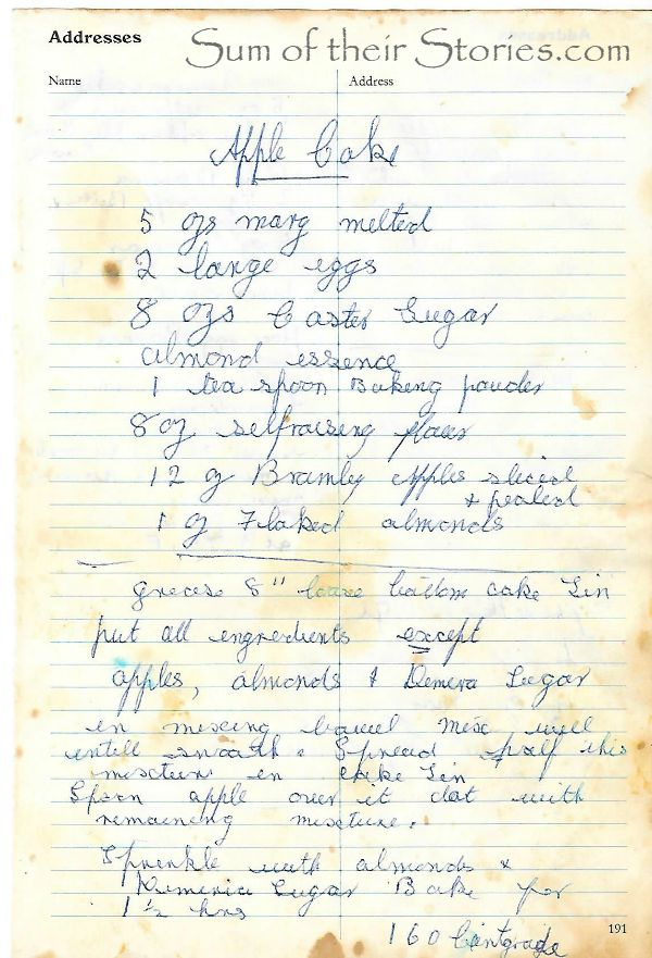 my nan's handwritten apple cake recipe