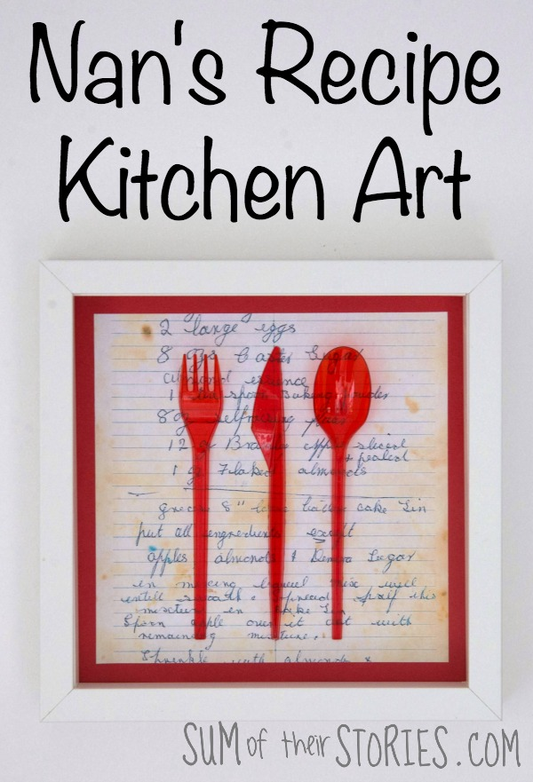 My nan's recipe kitchen art