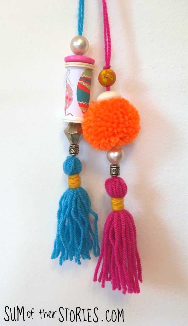 bright coloured pom pom ornaments