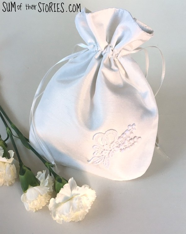 brides drawstring bag