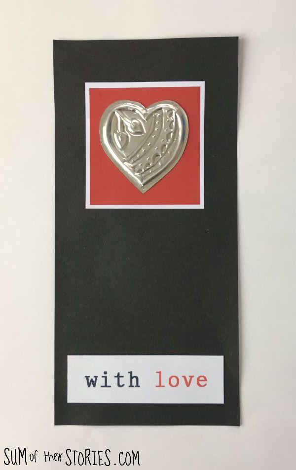 recycled foil heart card for valentines