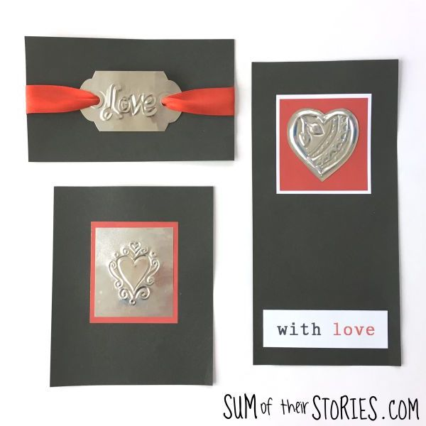 Upcycled foil pie dish valentine cards