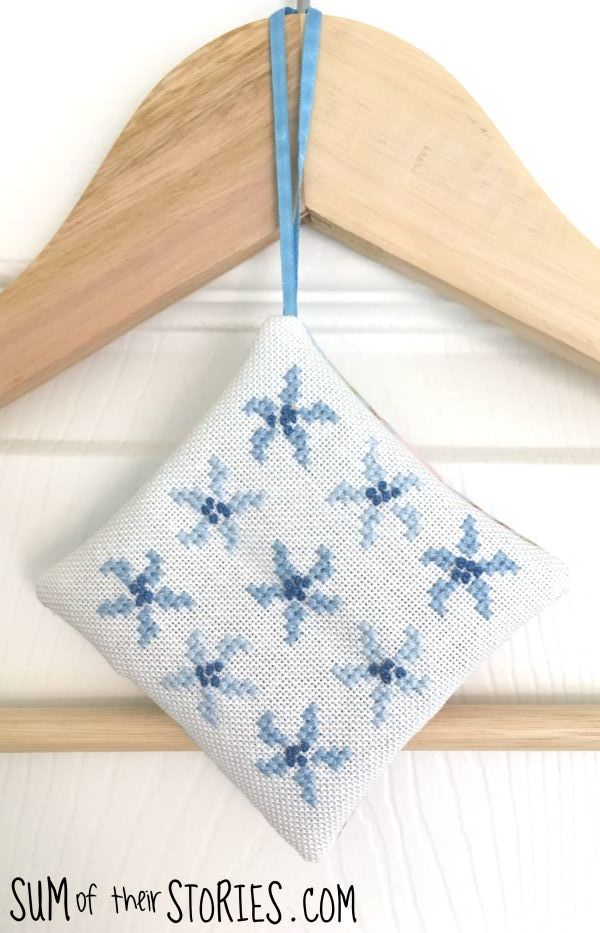 Blue flower cross stitch lavender bag