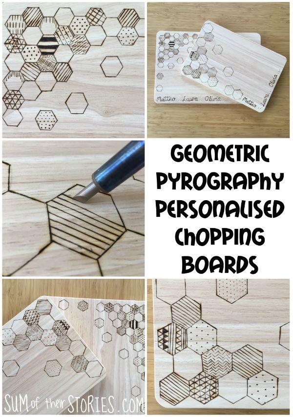 Geometric pyrography personalised chopping board