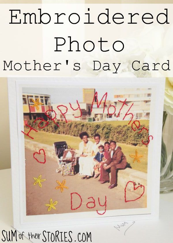 embroidered photo mothers day card