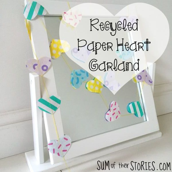 recycled paper heart garland