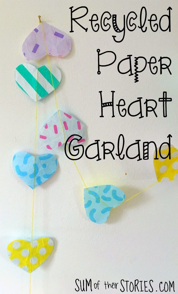 coloured paper heart bunting