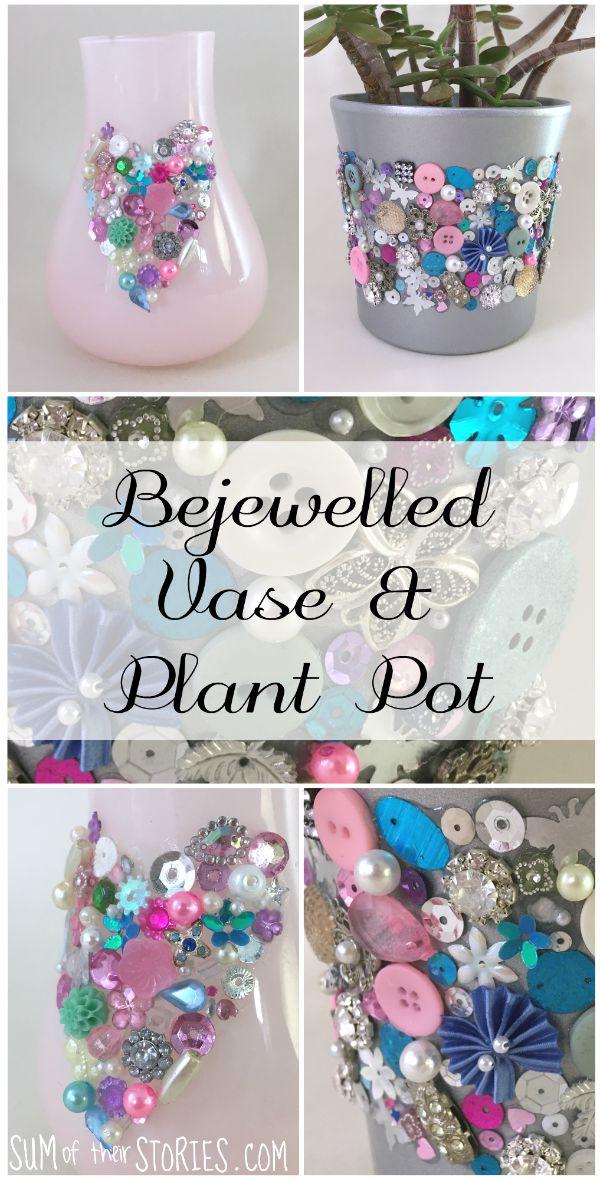 Jewel vase and plant pot diy