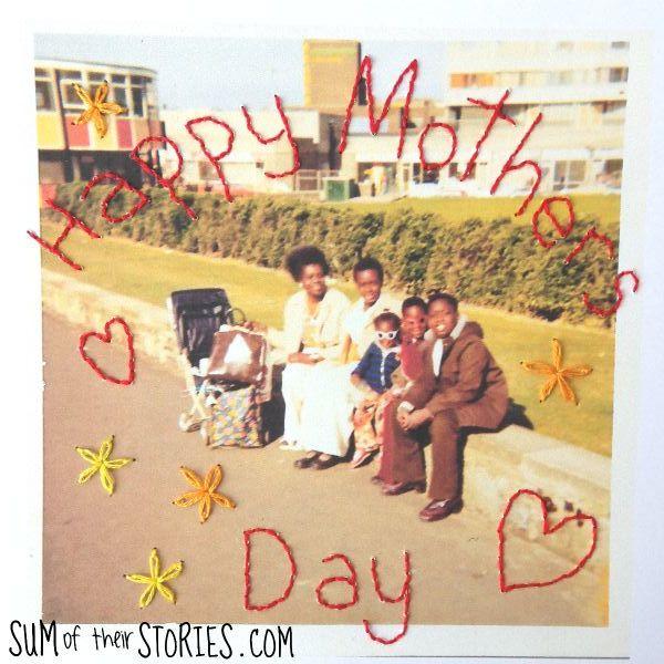 stitch photo mothers day card