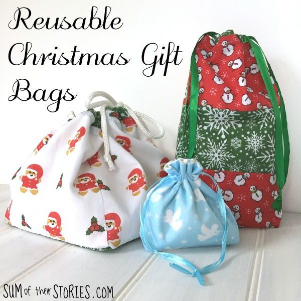 Fabric Christmas Gift Bags Sum Of Their Stories Craft Blog