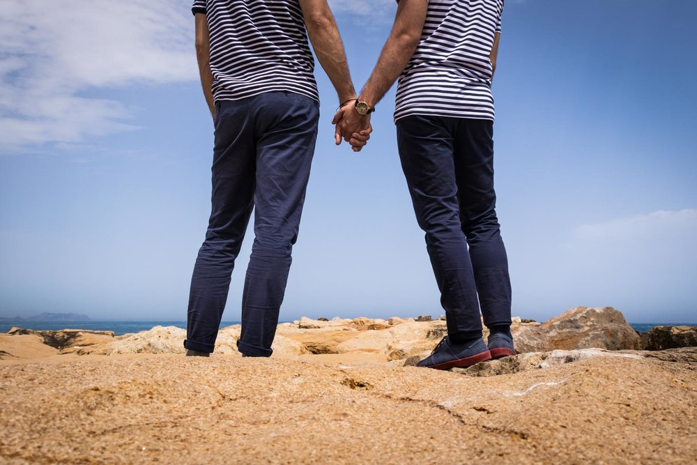 gay couple holding hands on the shore