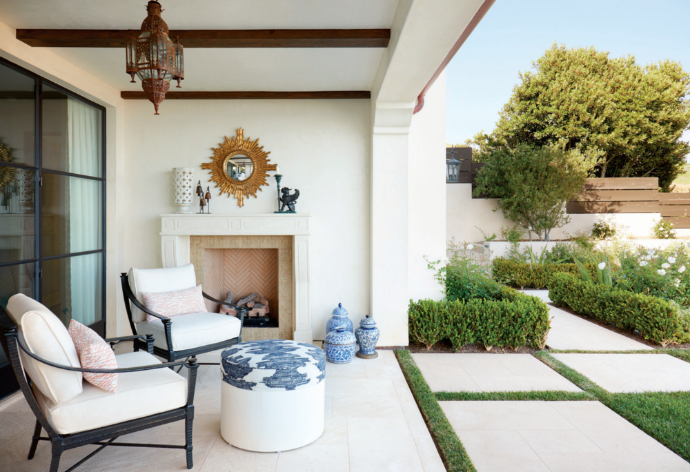 LAGUNA BEACH - SPANISH REVIVAL OUTDOOR FIREPLACE BY OATMAN ARCHITECTS