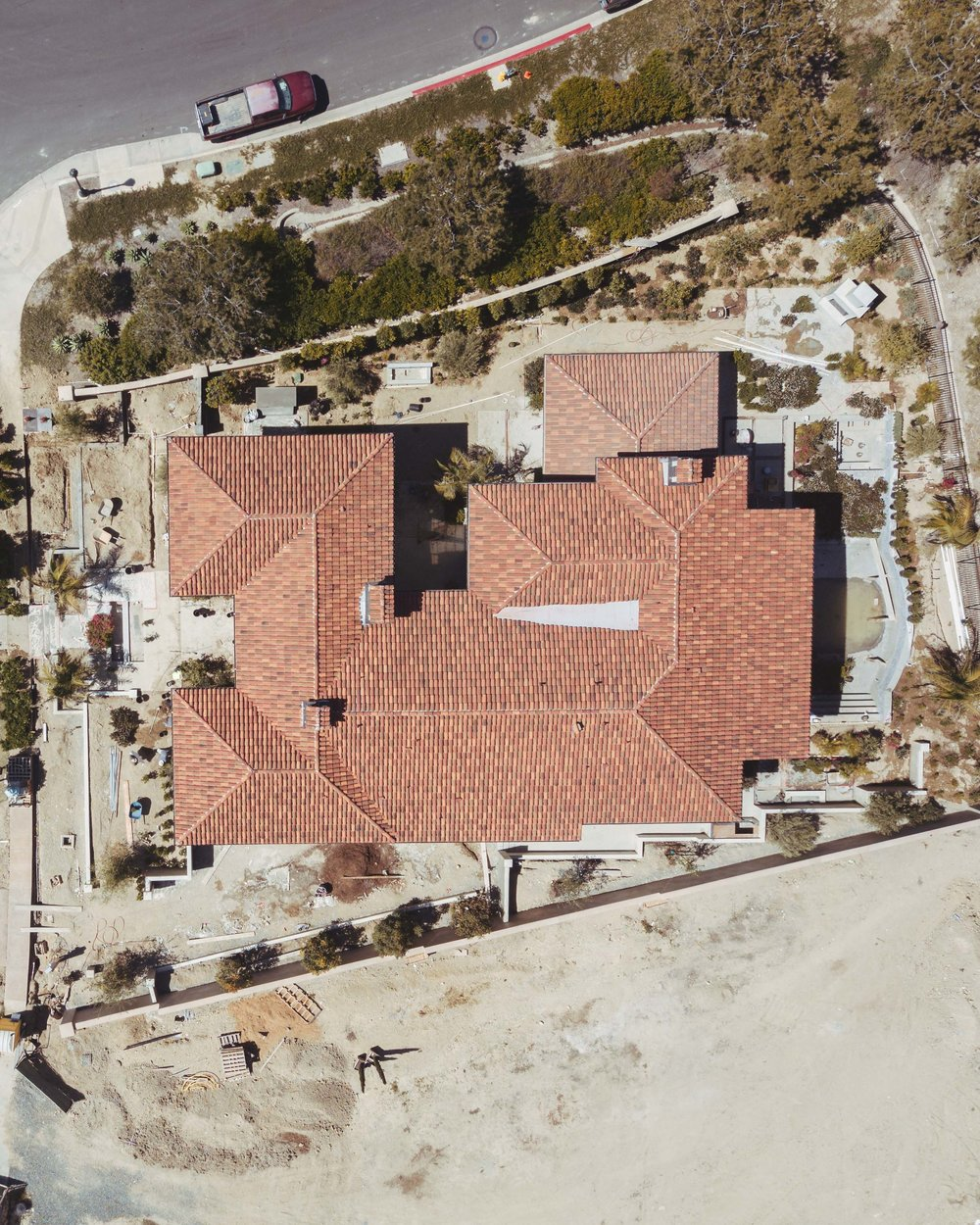 Crystal Cove Northern Italian Under Construction Aerial By Oatman Architects