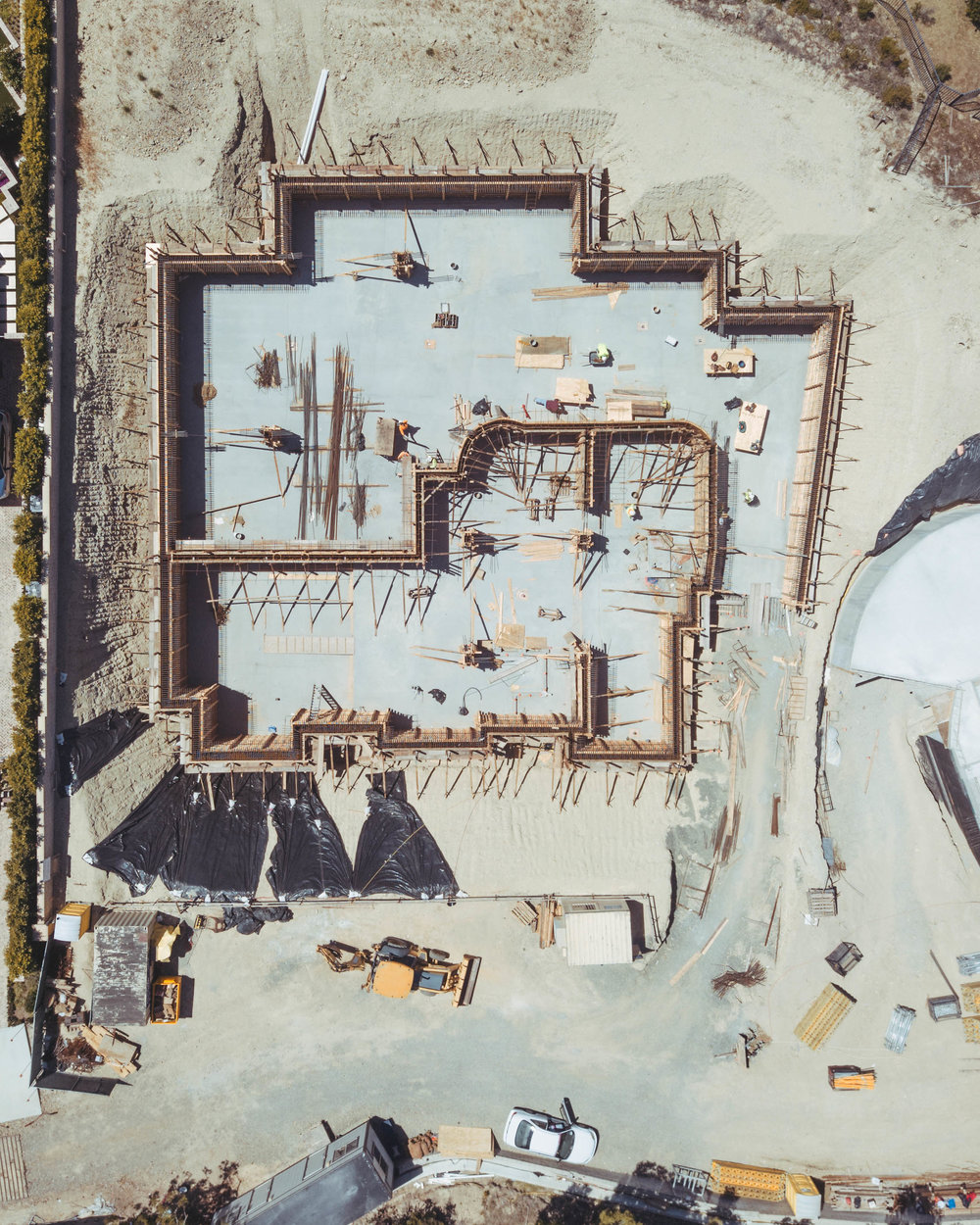 Crystal Cove Romanesque Villa Aerial Under Construction by Oatman Architects