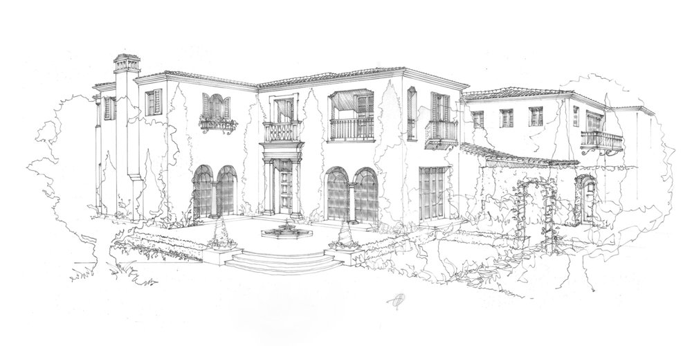 Crystal Cove - Santa Barbara Style Home Front Elevation By Oatman Architects