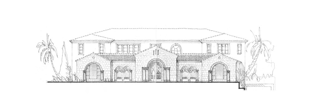 Crystal Cove Romanesque Villa Front Elevation By Oatman Architects