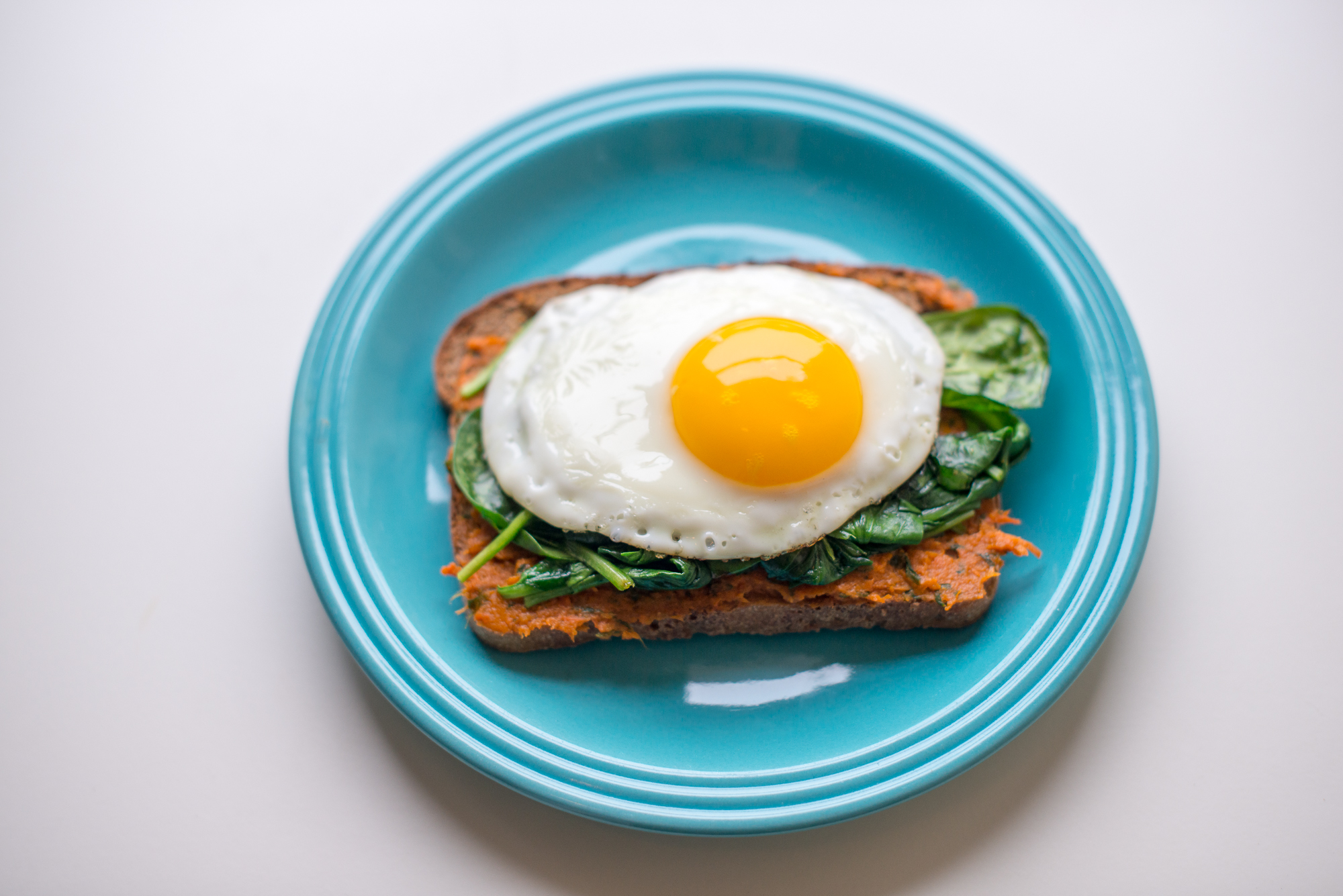 Classic Egg Sandwich With Roasted Carrot Basil Spread