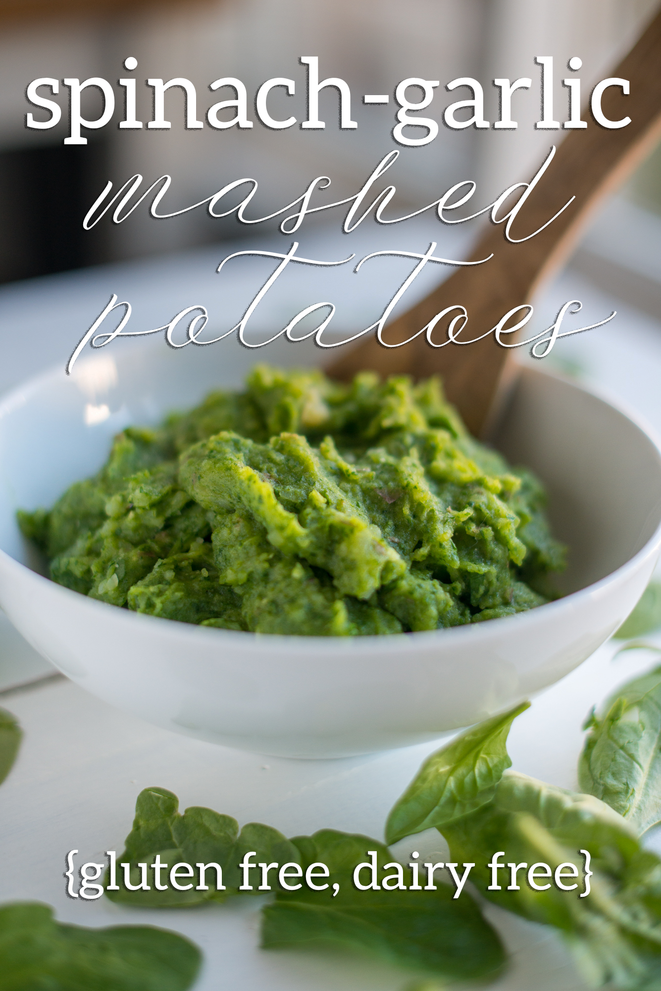 spinach garlic mashed potatoes (gluten free, dairy free)