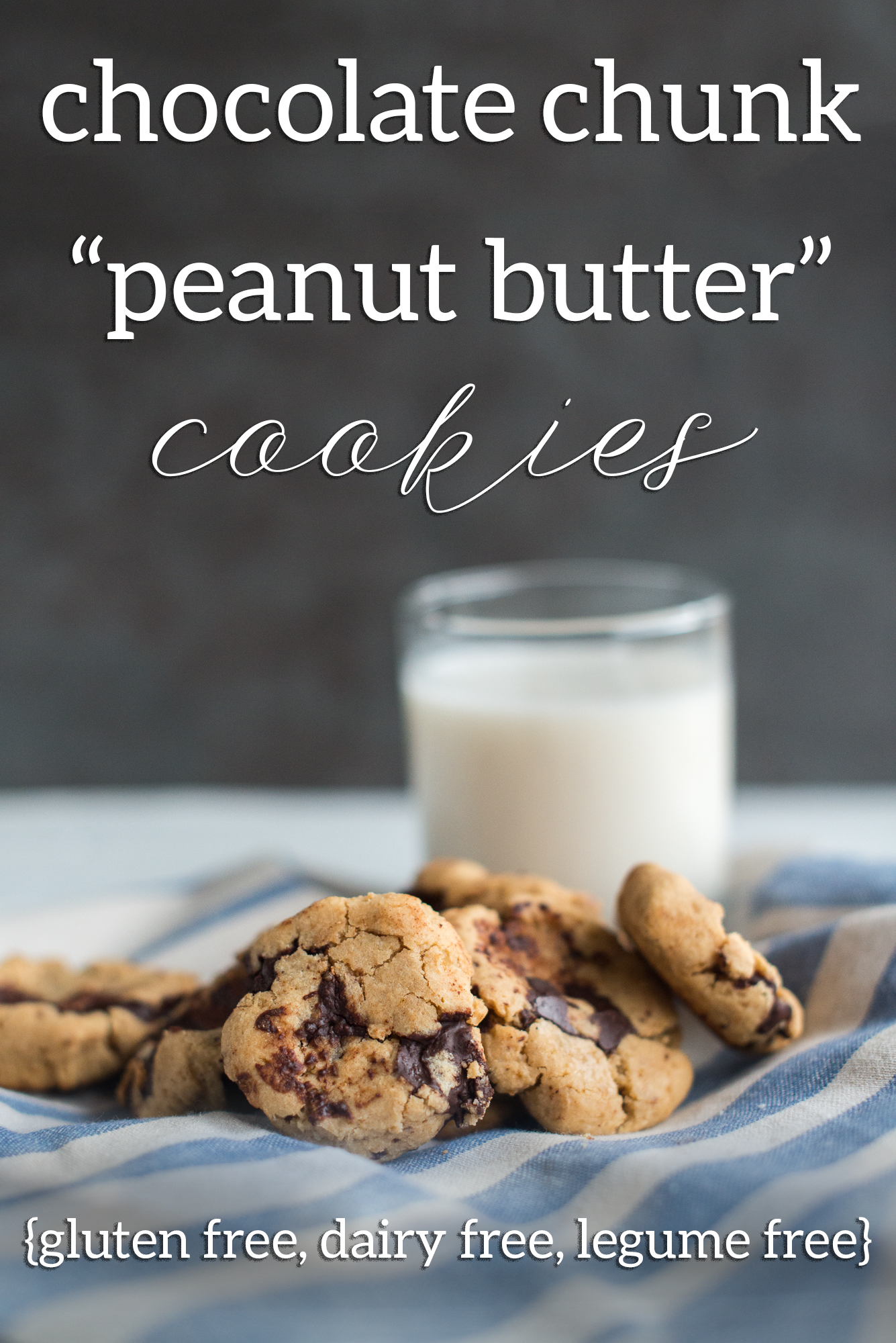 "Chocolate Chunk ""Peanut Butter"" Cookies (gluten free, dairy free, legume free, peanut free)"