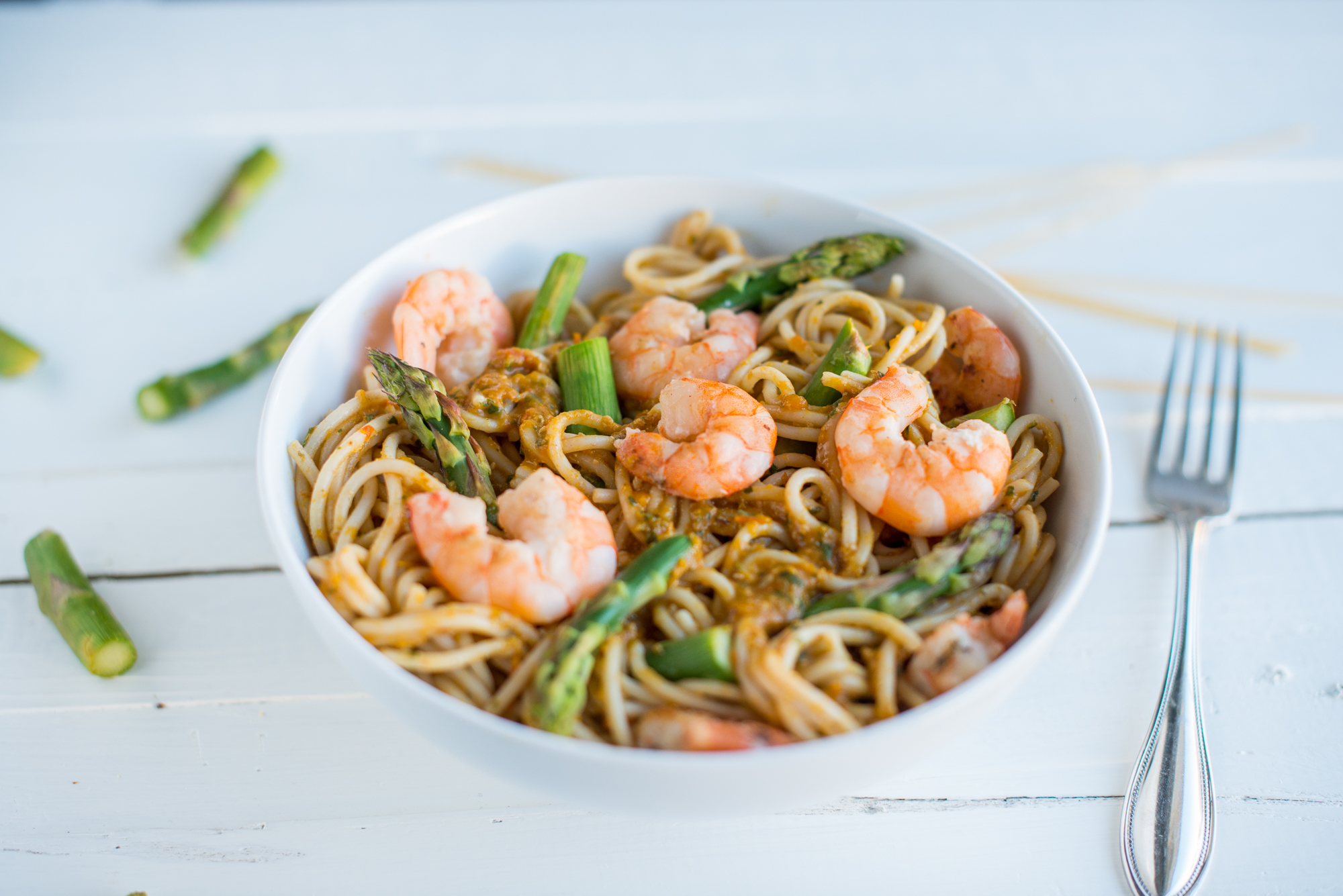 Shrimp & Asparagus with Bell Pepper Tomato Sauce