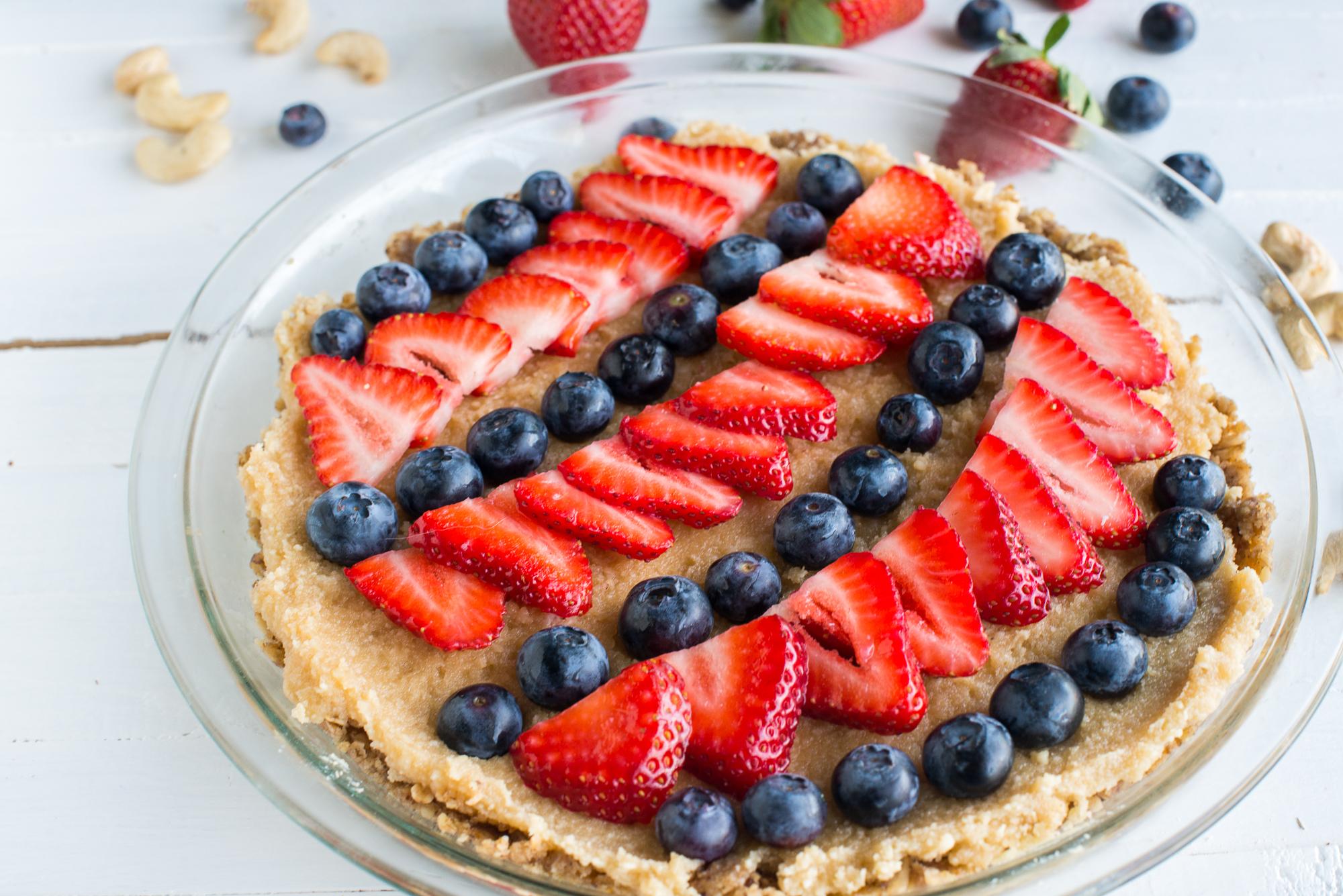 Coconut Cashew Cream Berry Tart (Gluten Free, Dairy Free, Vegan, Raw)