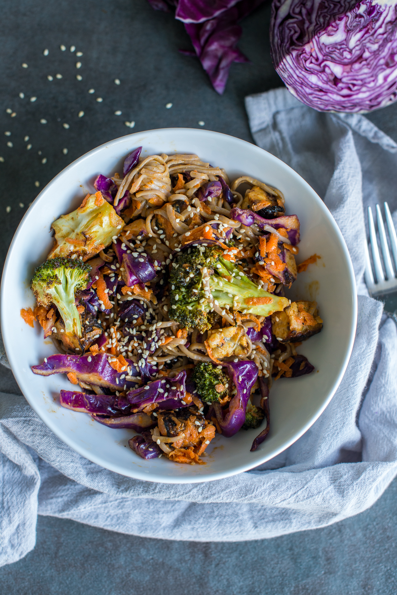 Buckwheat Noodle & Veggie Crunch Salad with Peanut Sauce and Marinated Tempeh