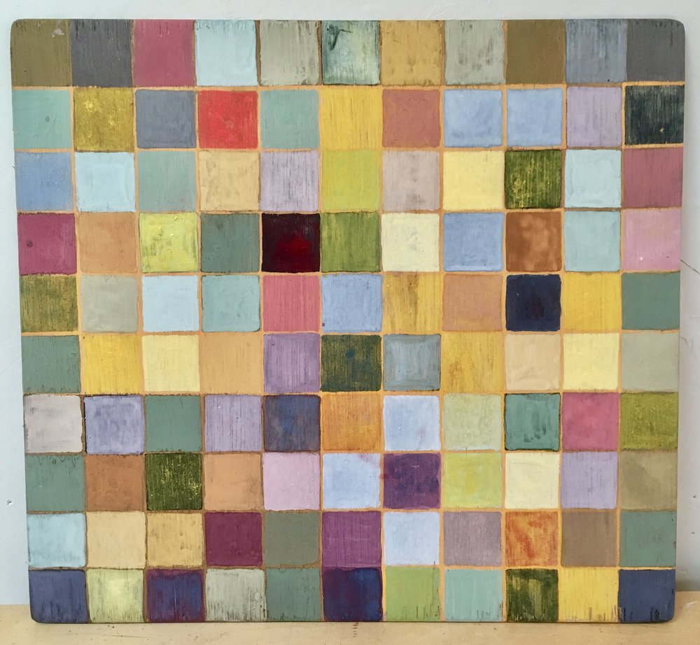 """HIDDEN COLOR #1: PLANT & MINERAL PIGMENTS + ONE SYNTHETIC COLOR ON 10""""x11"""" WOOD PANEL // PAINTING + HALF HOUR COLOR CONVERSATION with artist Tilke Elkins. $77.00 — $111.00 sliding scale donation.  SOLD"""