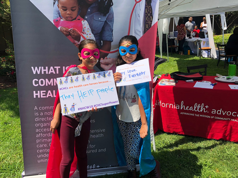 """National Health Center Week 2018 - From August 12th to the 18th, health center heroes, who help make affordable health care possible for California's most vulnerable populations, were at the center of this year's National Health Center Week (NHCW) theme, """"Honoring Health Center Heroes.""""Over 700 health centers nationwide held more than 1600 events, showcasing the #CHCSuperPower of providers, patients, volunteers, staff and all who make health centers operate to serve 27 million patients across the country!"""
