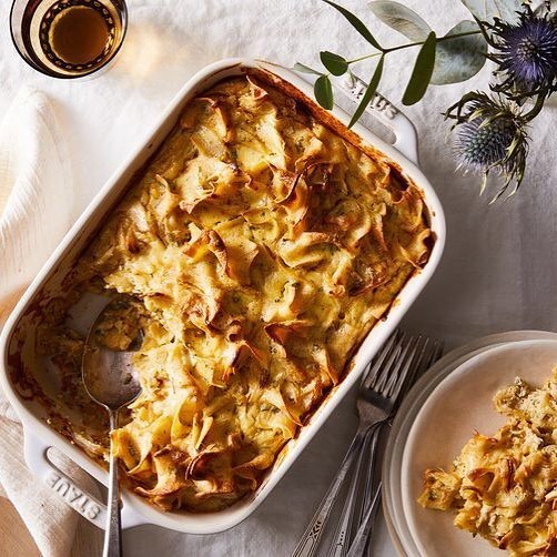 Noodle Kugel with Caramelized Onion and Brown Butter⠀ .⠀ Serves: 6 to 8⠀ .⠀ INGREDIENTS⠀ .⠀ 1 stick unsalted butter, plus more for greasing⠀ 2 tablespoons olive oil⠀ 1 cup YUMYIN⠀ 2 cups cottage cheese⠀ 1 cup sour cream⠀ 1 1/2 tablespoons kosher salt, plus more to taste⠀ 6 eggs⠀ Freshly ground black pepper, to taste⠀ 12 ounces wide egg noodles⠀ 2 tablespoons minced sage⠀ 1 teaspoon minced thyme⠀ .⠀ DIRECTIONS⠀ .⠀ -Preheat the oven to 375° F and grease a 9-by-13-inch baking dish with butter. ⠀ -In a large nonstick skillet, heat the olive oil over medium heat. ⠀ -Add the onions and cook, stirring often, until softened and lightly caramelized, 20 minutes. Transfer to a large bowl.⠀ -In a large non-stick skillet over medium heat, add the butter and cook, stirring often, until browned and nutty in aroma, 5 to 6 minutes. ⠀ -Transfer to a blender and let cool.⠀ -Into the blender, add the cottage cheese, sour cream, salt, eggs and black pepper. ⠀ -Blend until smooth, pour into a large bowl.⠀ -Add the YUMYIN to the large bowl and stir well to combine.⠀ -Bring a large pot of salted water to a boil. Add the egg noodles and cook until al dente, 7 minutes. ⠀ -Drain, then add to the bowl along with the sage and thyme. ⠀ -Toss until well coated.⠀ -Pour the noodle mixture to the prepared baking dish and smooth the top with a spatula.⠀ -Bake until golden brown and set, 45 minutes. Let rest for 5 minutes, then slice and serve.⠀ .⠀ https://www.yumyin.com/recipes/2018/7/9/noodle-kugel-with-caramelized-onions-and-brown-butter⠀ .⠀ #caramelizedonion #caramelizedonions #noodlekugel #kugelnoodle #brownbutter #butter #thanksgiving #turkey #turkeyday #recipe #recipes #recipeoftheday #food52 #f52gram #delicious #yum #yumyin