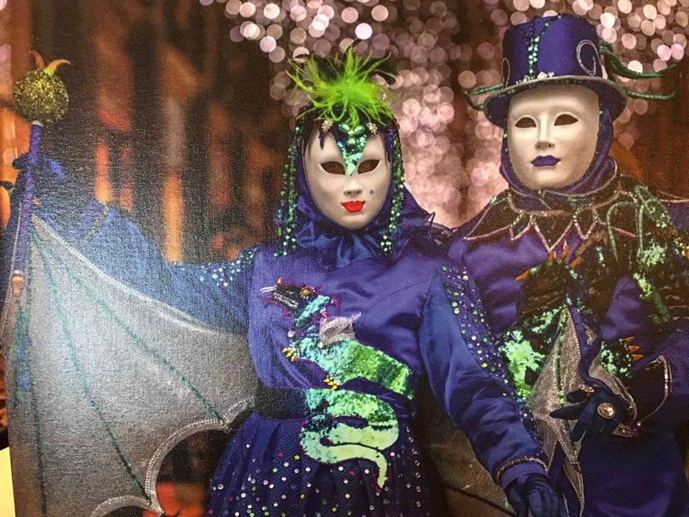 Joyce and Joseph Pitassi are wearing costumes they designed and created for Carnevale in Venice