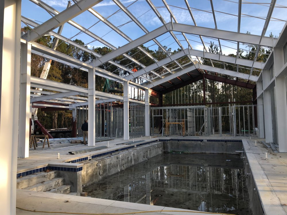 November 2018: Steel beams are installed over the pool.