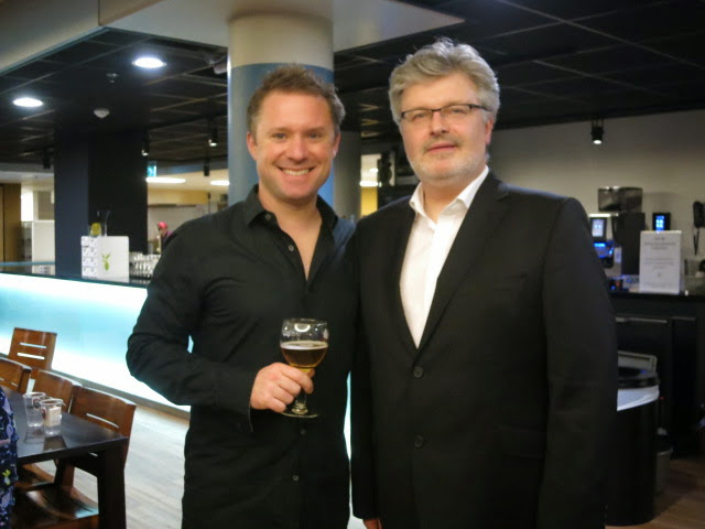 With James Macmillan in Utrecht following the Premiere of his 'Percussion Concerto No.2' with the Netherlands Radio Philharmonic Orchestra.