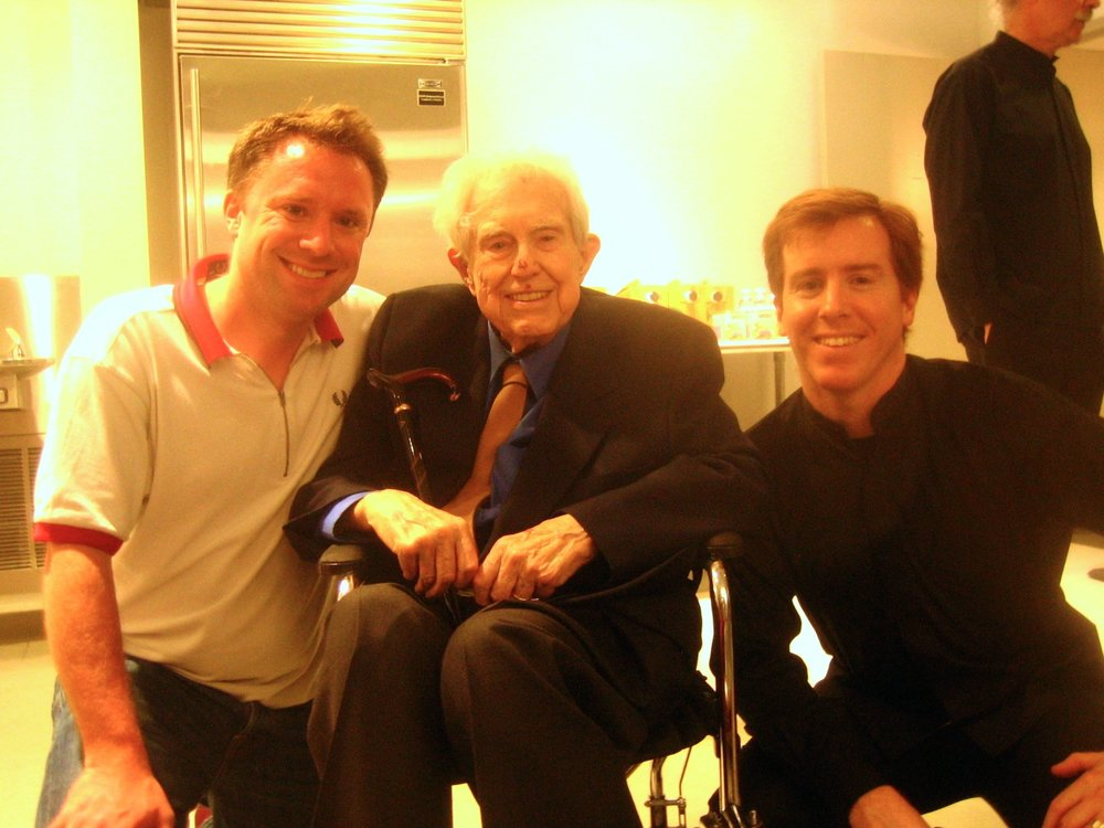 Copy of With Elliott Carter and Eric Huebner at the World Premiere of 'Two Controversies and a Conversation' in New York City in June 2012.