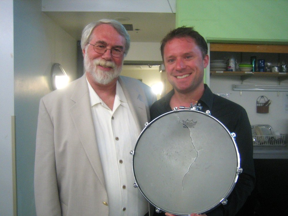 Copy of Christopher Rouse in Aspen after one of many performances of his concerto. I broke a snare head; Chris said 'Still not loud enough!!!'