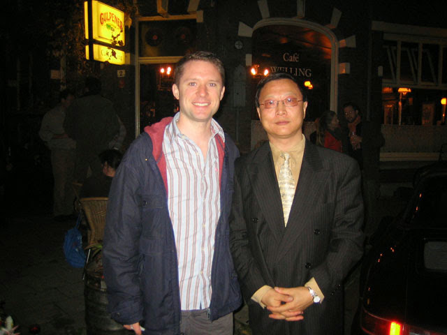 With Bright Sheng in Amsterdam, performing his marimba concerto with the Concertgebouw Orkest in 2005.