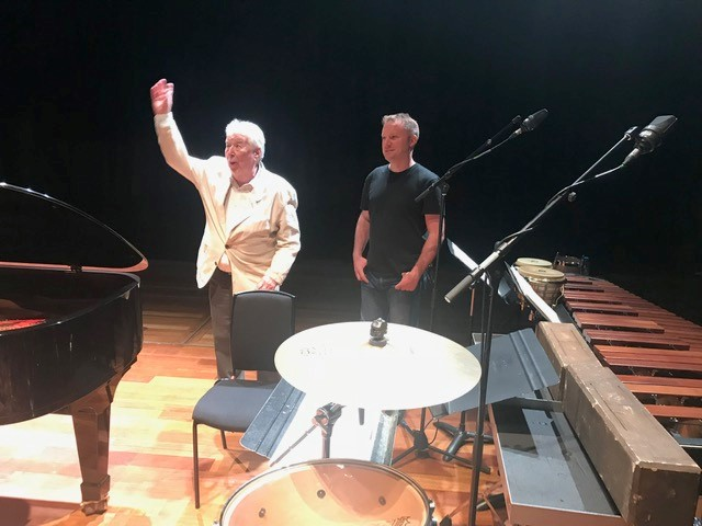 With Harrison Birtwistle on stage at the Queen Elizabeth Hall, London at the European premiere of 'Intrada for Piano and Percussion'.