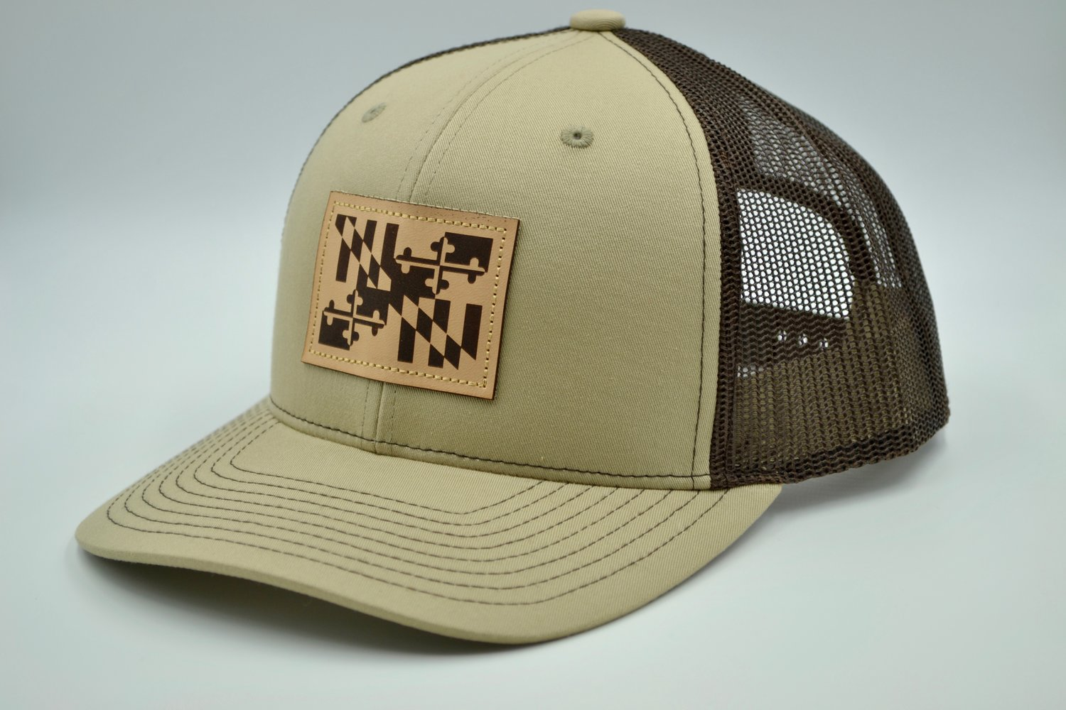Maryland Flag Khaki and Brown Trucker Hat with Leather Patch ... 4fa60878009
